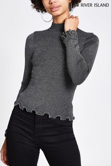 River Island Silver Angelica Metallic Frill Turtle Neck Jumper