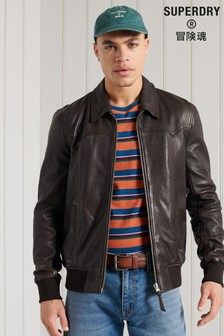 Superdry Leather Indie Club Jacket