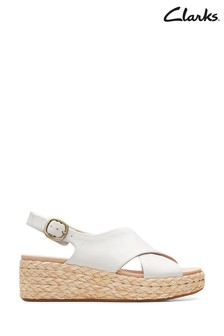Clarks White Leather Kimmei Cross Sandals