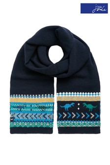 Joules Blue Toasty Fairisle Scarf
