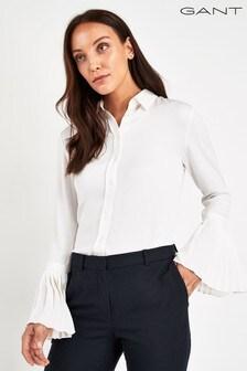 GANT White Plisse Sleeve Shirt
