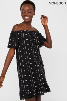 Monsoon Black Ayanna Off Shoulder Jersey Dress