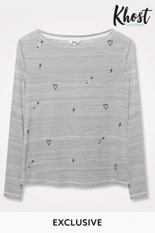 Khost Grey Heart Embroidered Stripe Top