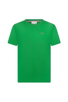 Lacoste Kids Boys Green Cotton T-Shirt