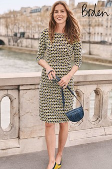 Boden Yellow Penny Jersey Dress