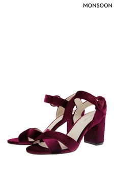 Monsoon Red Viola Velvet Occasion Sandals