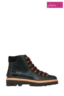 Joules Black Montrose Lace Up Hiker Boots