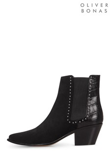 Oliver Bonas Croc Textured Studded Leather Boots