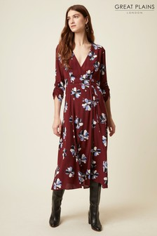 Great Plains Purple Rachel Flower 3/4 Sleeve V-Neck Dress