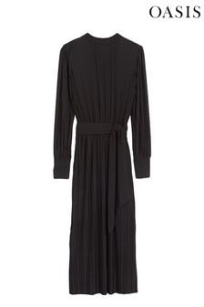 Oasis Black Pleated Midi Dress