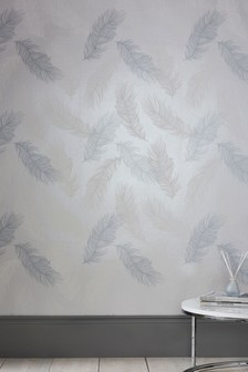 Paste The Wall Silver Feather Wallpaper