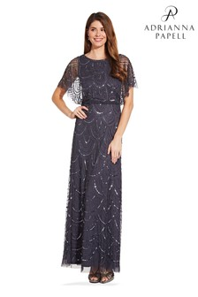Adrianna Papell Grey Bead Blouson Dress