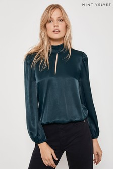 Mint Velvet Green Forest High Neck Split Top