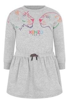 Girls Grey Cotton Tiger Dress