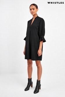Whistles Black Sonia Frill Sleeve Dress