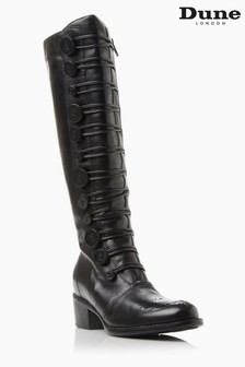 Dune London Pixie D Black Button Detail Leather Knee High Boots