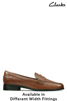 Clarks Tan Leather Hamble Loafer Shoes