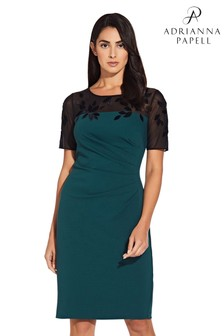 Adrianna Papell Green Velvet Appliqué Crepe Sheath Dress