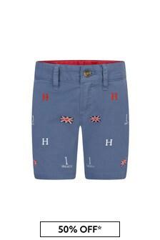 Hackett London Kids Boys Blue Cotton Shorts
