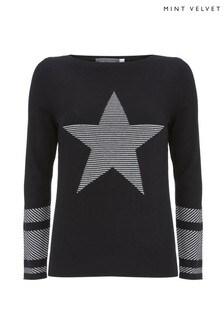 Mint Velvet Black Stripe Star Front Knit Jumper