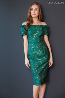 Gina Bacconi Green Coraima Floral Jacquard Dress