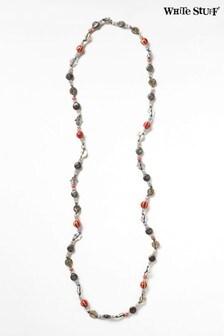 White Stuff Metallic Ceramic Cord Metal Necklace