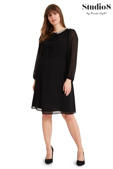 Studio 8 Black Sigrid Pearl Neck Dress