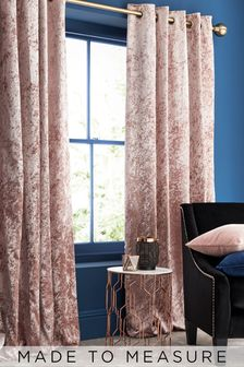 Made To Measure Pink Crushed Velvet Curtains