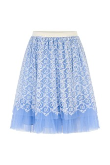 Girls Light Blue Tulle GG Embroidered Skirt
