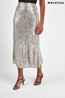 Whistles Silver Sequin Skirt