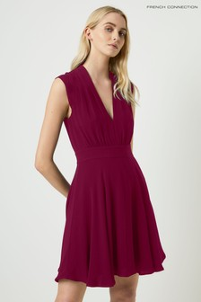 French Connection Purple Carrabelle Crepe V-Neck Dress
