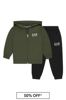 EA7 Emporio Armani Boys Green Cotton Tracksuit