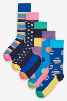 Ponožky s geometrickým vzorom, 5 párov