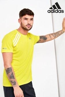 adidas Yellow Own The Run 3 Stripe T-Shirt