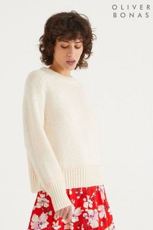 Oliver Bonas Ivory Blanket Stitch Knitted Jumper