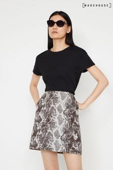 Warehouse Animal Snake Jaquard Mini Skirt