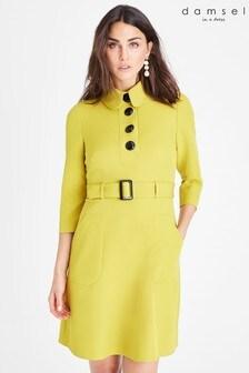 Damsel In A Dress Yellow Adie Button Detail Dress