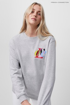 French Connection Grey Love Graphic Crew Neck Sweater