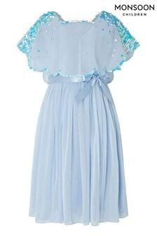 Monsoon Children Blue Eliza Sequin Cape Dress