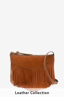 Suede Fringing Across Body Bag