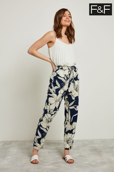 F&F Navy Floral Tapered Leg Trouser