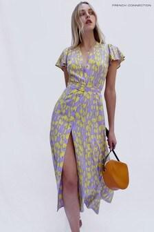 French Connection Purple Islanna Crepe Printed Midi Dress