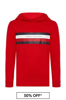 Tommy Hilfiger Boys Red Cotton Hoody