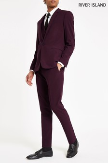 River Island Burgundy Skinny Suit Trouser