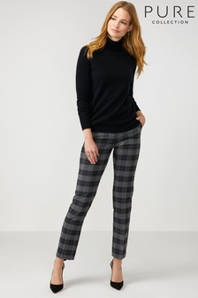 Pure Collection Grey Slim Leg Wool Blend Trousers
