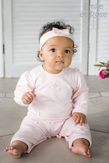 Emile et Rose All-In-One With Rosebud Embroidery And Hairband