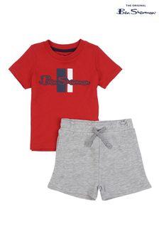 Ben Sherman® Red Mod Script T-Shirt And Shorts Set