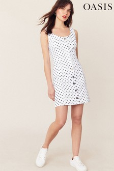 Oasis White Spot Button Mini Dress
