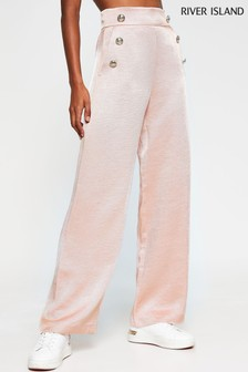 River Island Pink Pull-On Wide Leg Trousers With Buttons