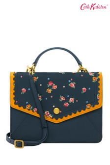 Cath Kidston® Blue Wimbourne Ditsy Scalloped Leather Bag